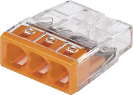 Krabicová svorka WAGO 2273-203 na kábel s rozmerom - , tuhosť 0.5-2.5 mm², počet pinov 3, 1 ks, priehľadná, oranžová