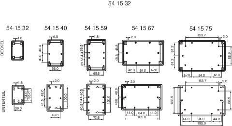 Stolná / nástenná skrinka 220x154x50 mm