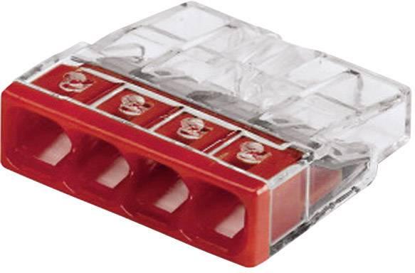 Krabicová svorka WAGO 2273-204 na kábel s rozmerom - , tuhosť 0.5-2.5 mm², počet pinov 4, 1 ks, priehľadná, červená
