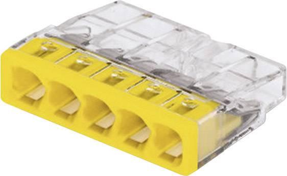 Krabicová svorka WAGO na kábel s rozmerom - , pólů 5, 1 ks, priehľadná, žltá