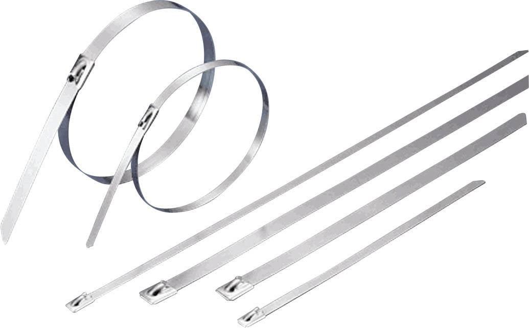 Stahovací pásky TRU COMPONENTS TC-BCT-201203 1592752, 201 mm, stříbrná, 1 ks