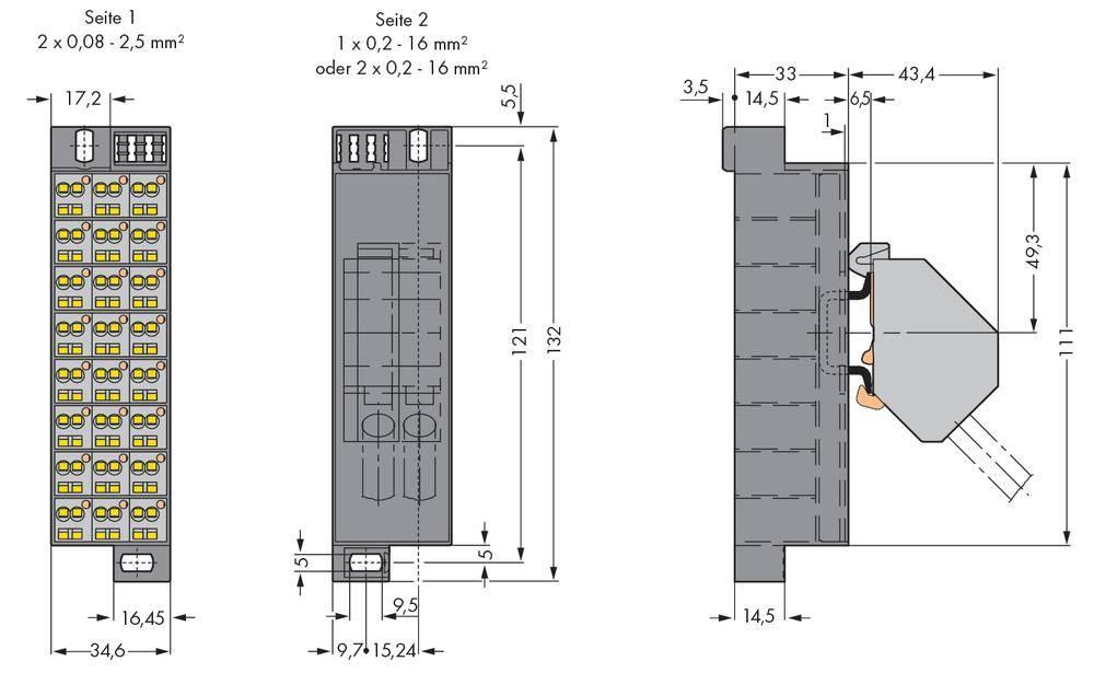 Potenciálová svorka WAGO 726-602, osazení: L, pružinová svorka, šedá, 10 ks