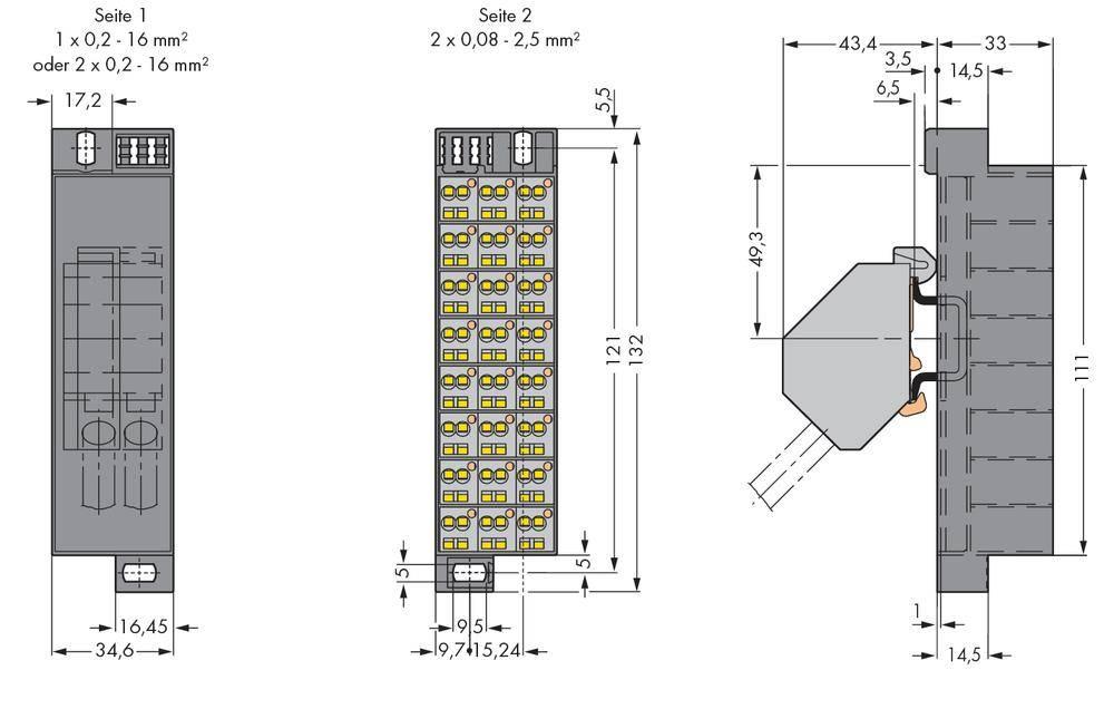 Potenciálová svorka WAGO 726-652, osazení: L, pružinová svorka, šedá, 10 ks