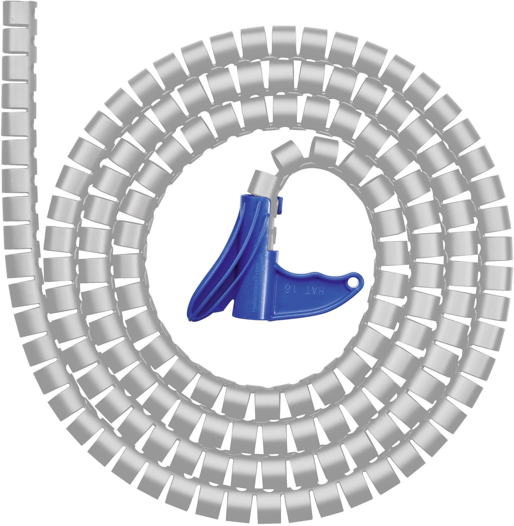 Káblový oplet HellermannTyton HWPP-16MM-PP-GY-K1 161-64205, 16 mm (max), 2 m, sivá