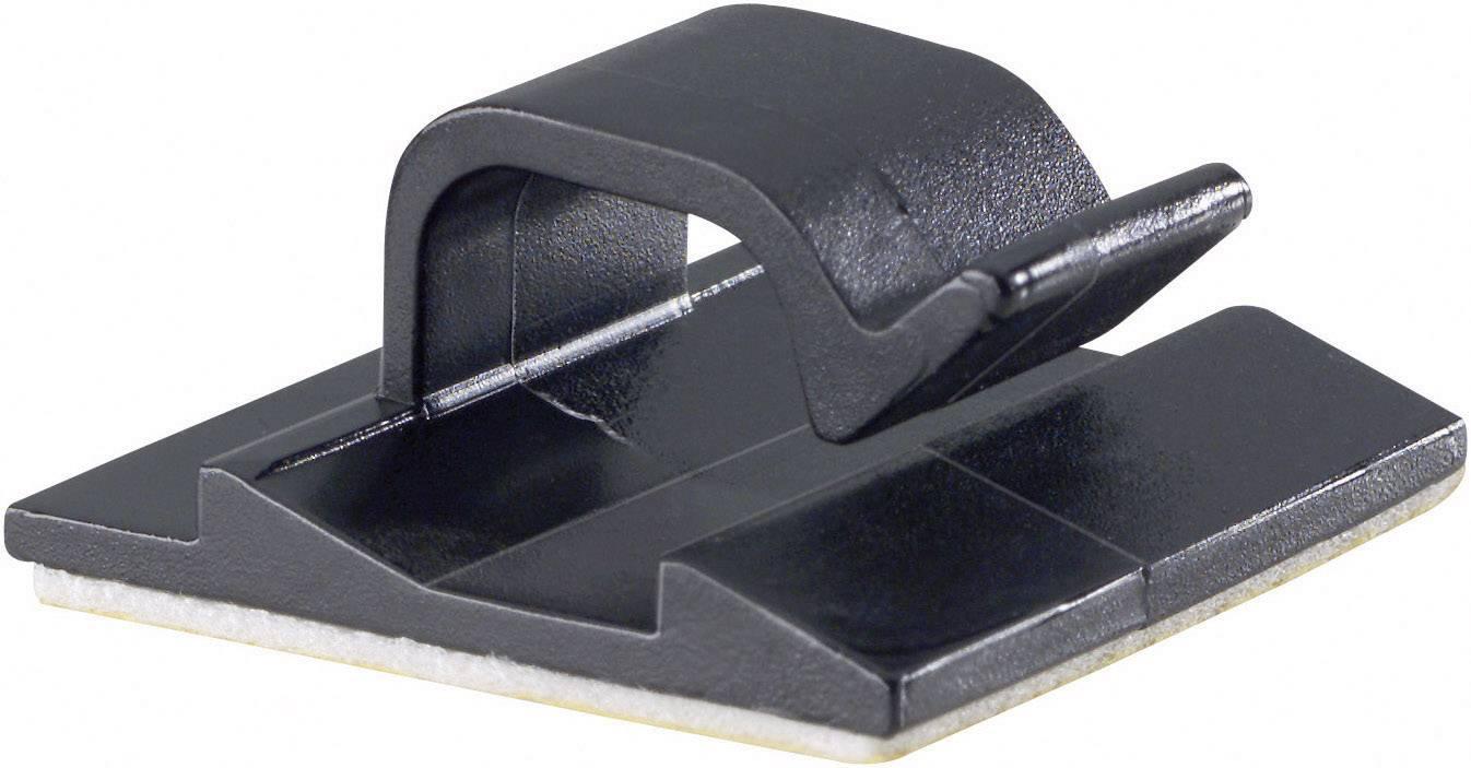 Spona na uchytenie káblu/ov PB Fastener 5433-SW 5433-SW, samolepiaci, 8 mm (max), čierna, 1 ks