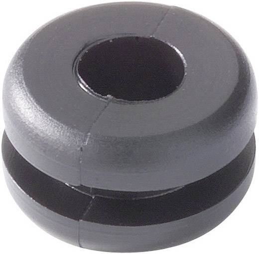 Káblová priechodka HellermannTyton HV1201-PVC-BK-N1, Ø 4 mm, PVC, čierna, 1 ks