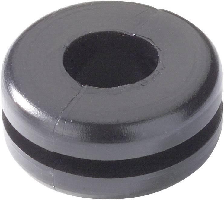 Káblová priechodka HellermannTyton HV1207-PVC-BK-M1, Ø 6 mm, PVC, čierna, 1 ks