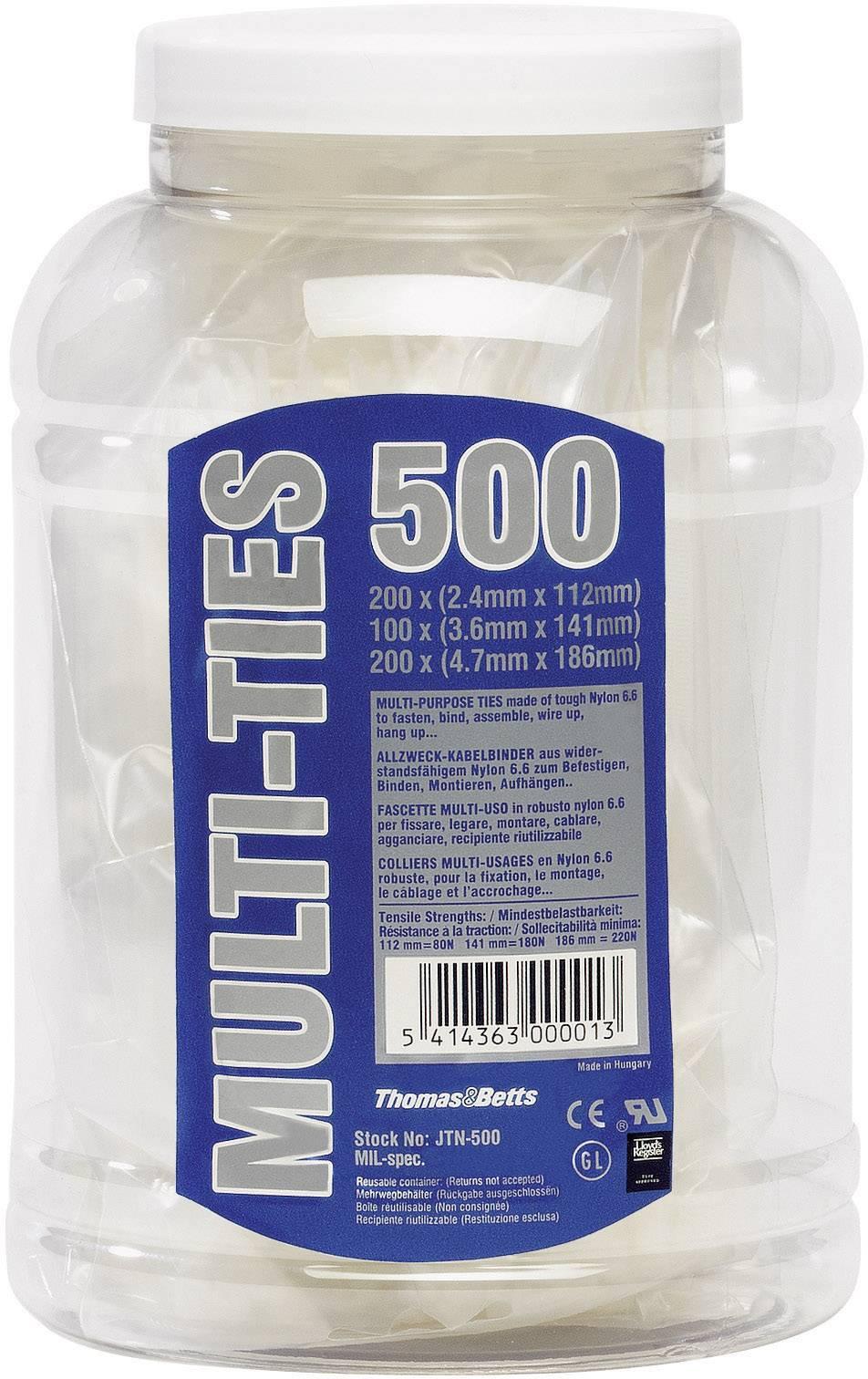 Sada UV odolných stahovacích pásků, Thomas & Betts JTB-500, 500 ks, černá