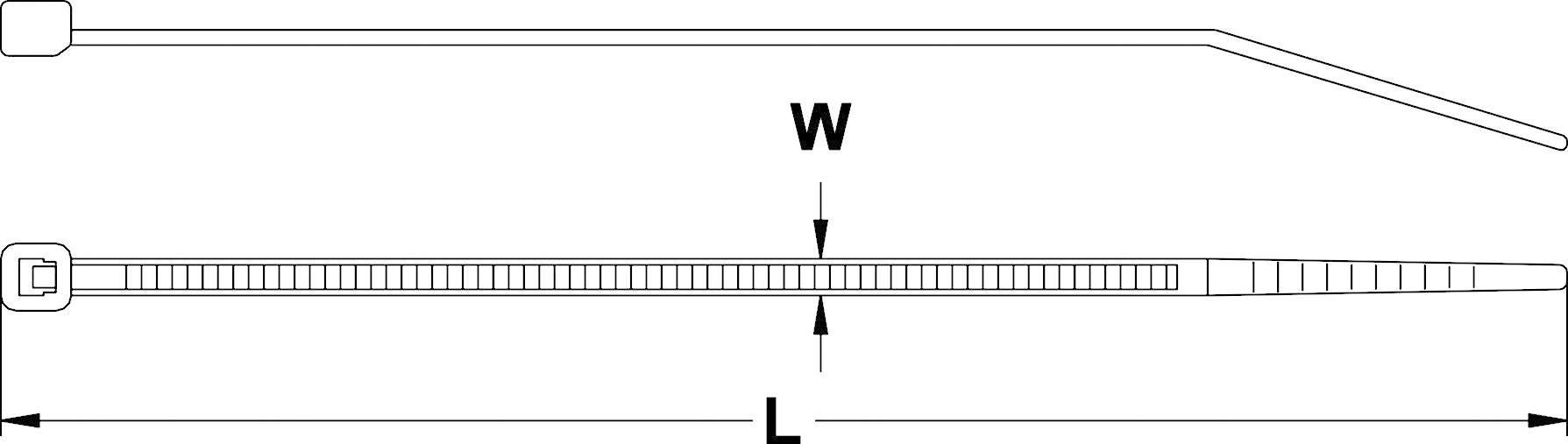 Standardna kabelska vezica z notranjimi zarezami (D x Š) 100 mm x 2.5 mm CV100K naravna barva 1000 kosov, KSS