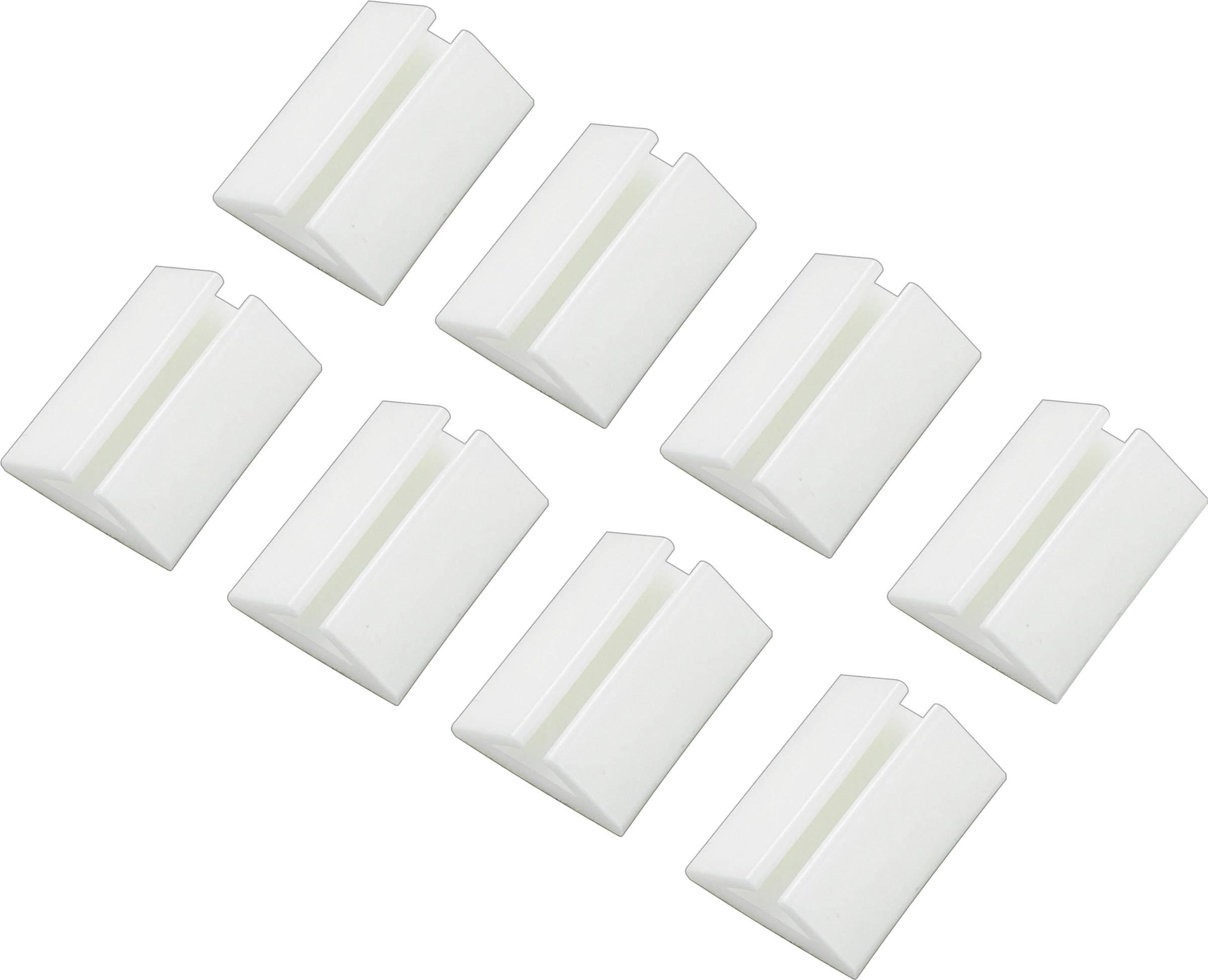 Držiak káblu Conrad Components 545025, samolepiaci, 2.50 do 3.50 mm, biela, 8 ks