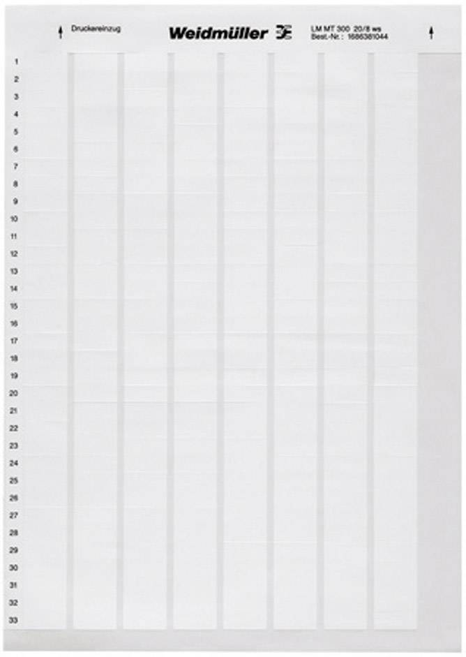 Etikety pro značení kabelů Weidmüller LM WriteOn 15X70 WS (1759871044), bílá, 1 arch