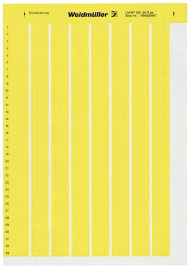 Etikety pro značení kabelů Weidmüller LM MT300 17X9 GE (1724151687), žlutá, 1 arch