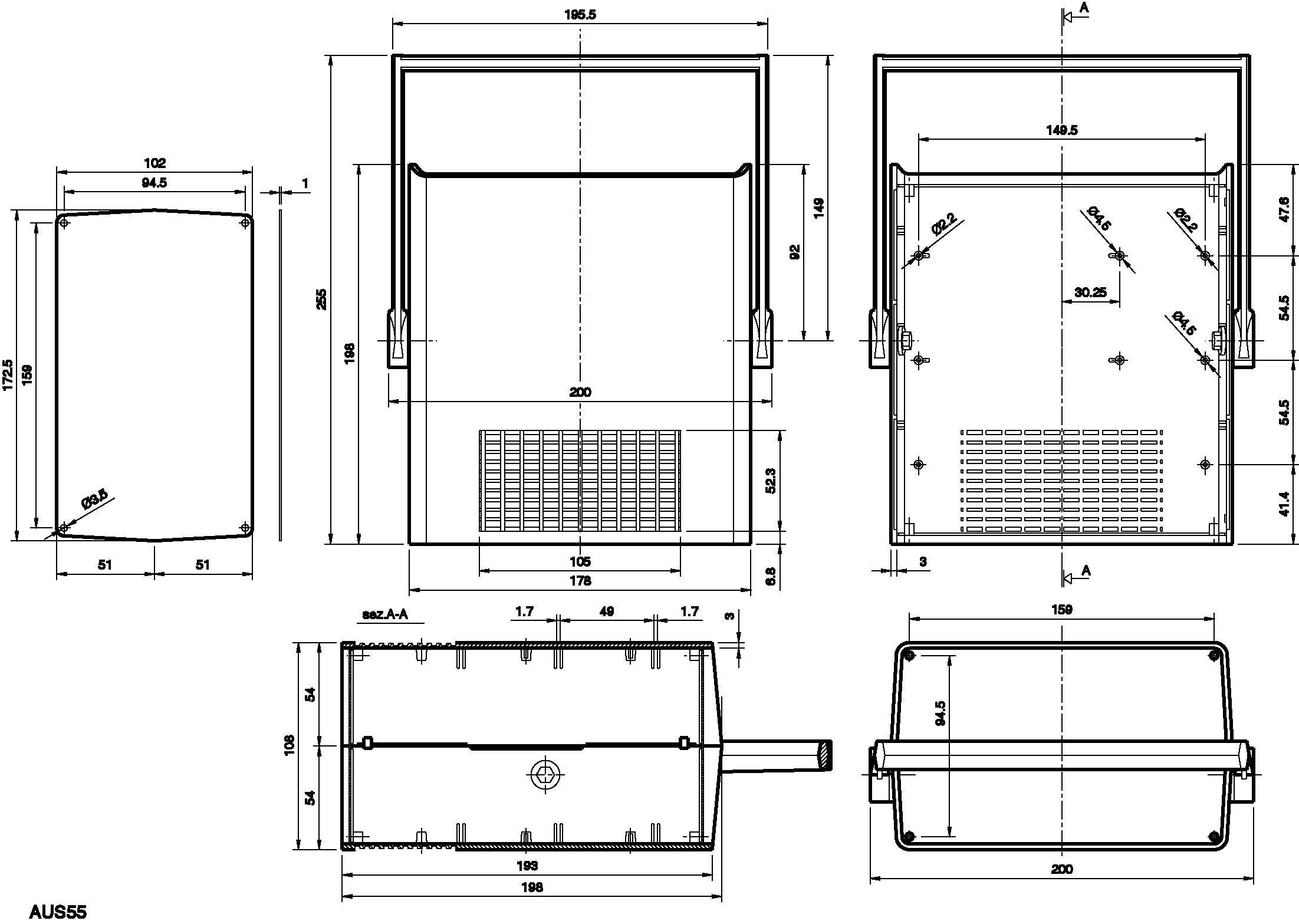 Puzdro na stôl TEKO AUS 55.5, 198 x 178 x 108 mm, polystyrén, hliník, svetlosivá, 1 ks