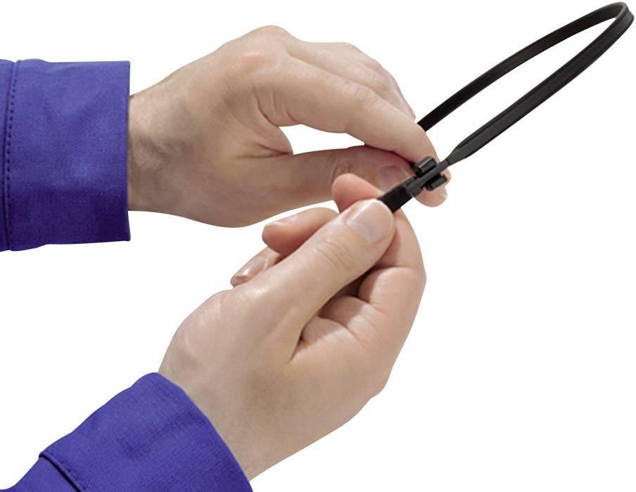 Kabelska vezica Q-Tie (D x Š) 250 mm x 3.6 mm Q30LR-PA66-BU-C1 modra, 100 kosov, HellermannTyton