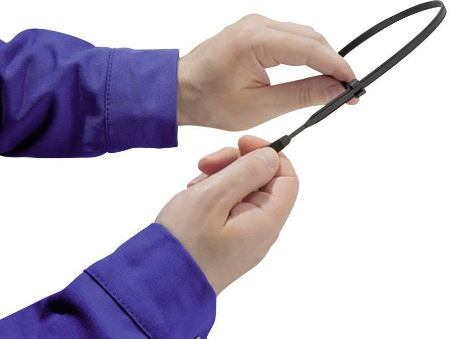 Kabelska vezica Q-Tie (D x Š) 200 mm x 3.6 mm Q30L-PA66-BU-C1 modra, 100 kosov, HellermannTyton