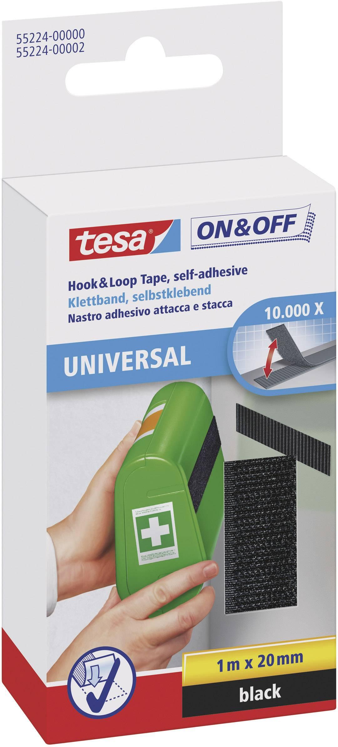 Suchý zip pro nalepení Tesa On&Off, 2 cm x 1 m, černá