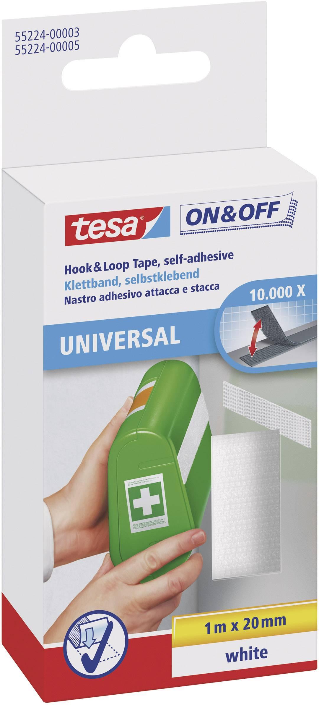 Suchý zip pro nalepení Tesa On&Off, 2 cm x 1 m, bílá