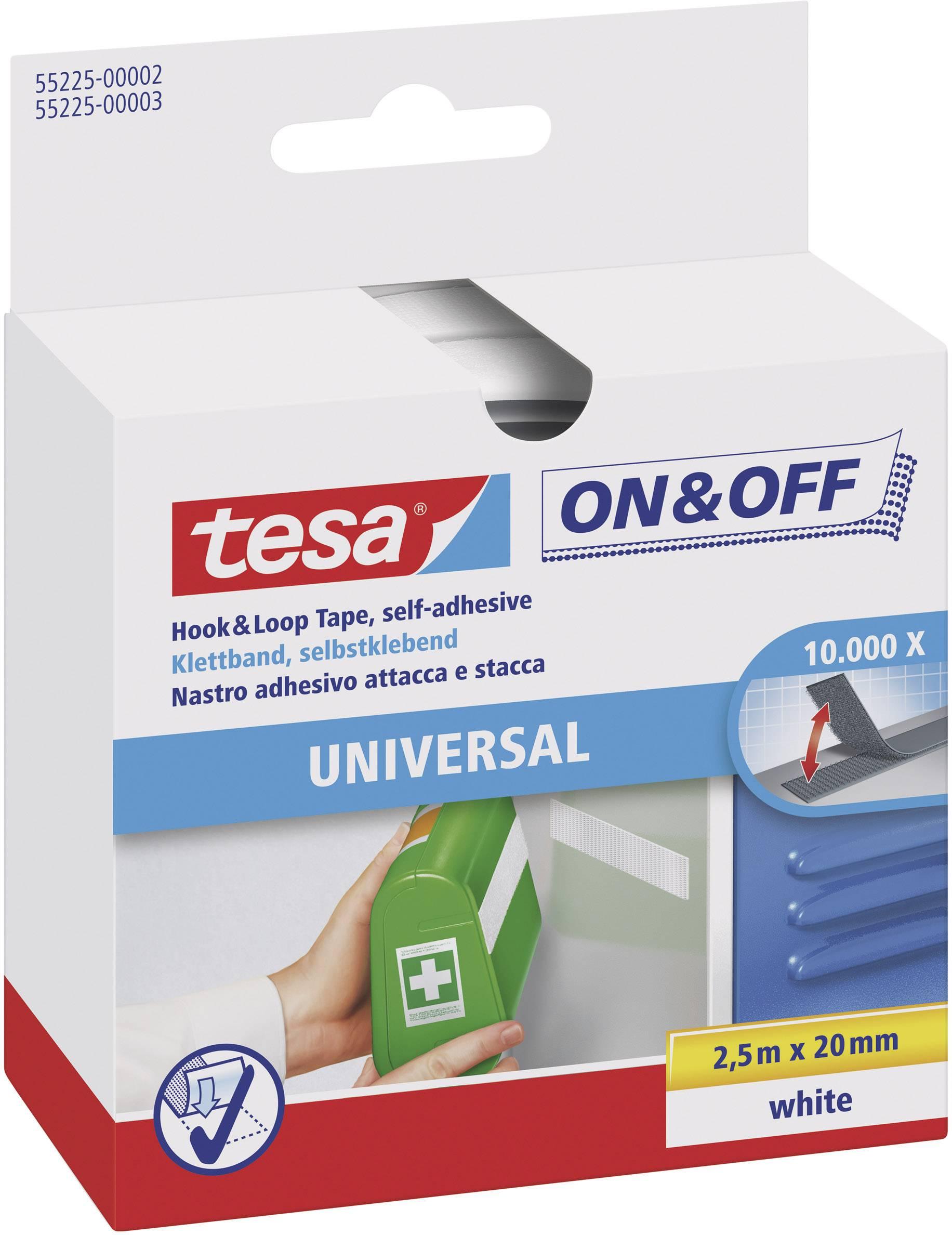 Suchý zip pro nalepení Tesa On&Off, 2 cm x 2,5 m, bílá
