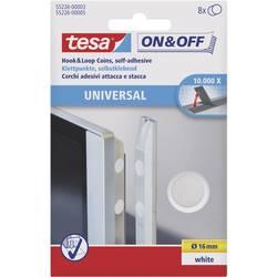 Lepiaci okrúhle suché zipsy TESA On & Off 55226-03-00, (Ø) 16 mm, biela, 8 pár