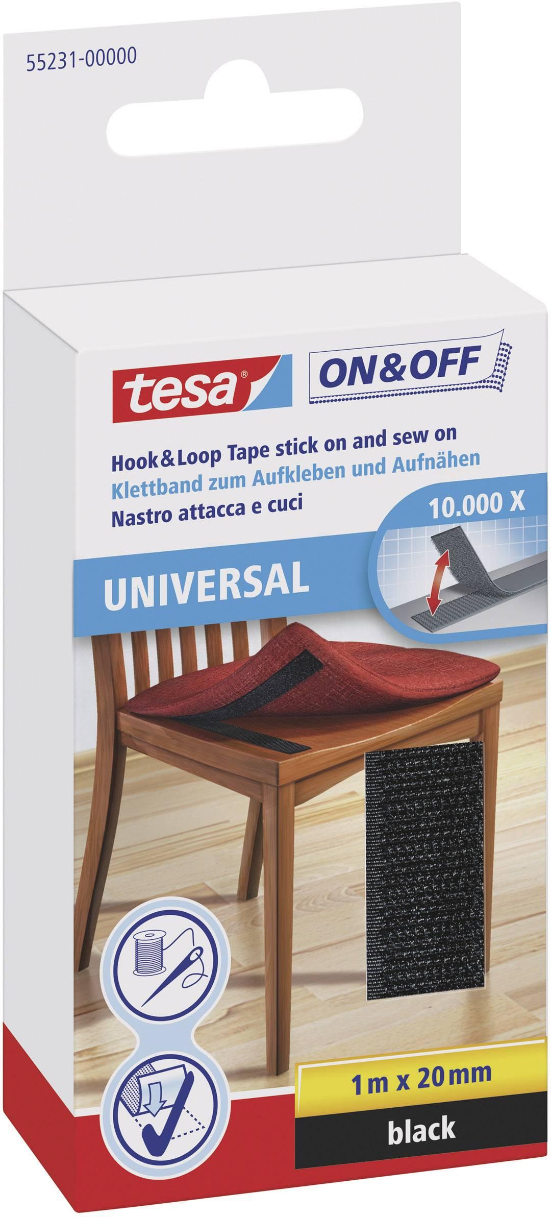 Suchý zip pro našití Tesa On&Off, 20 mm x 1 m, černá