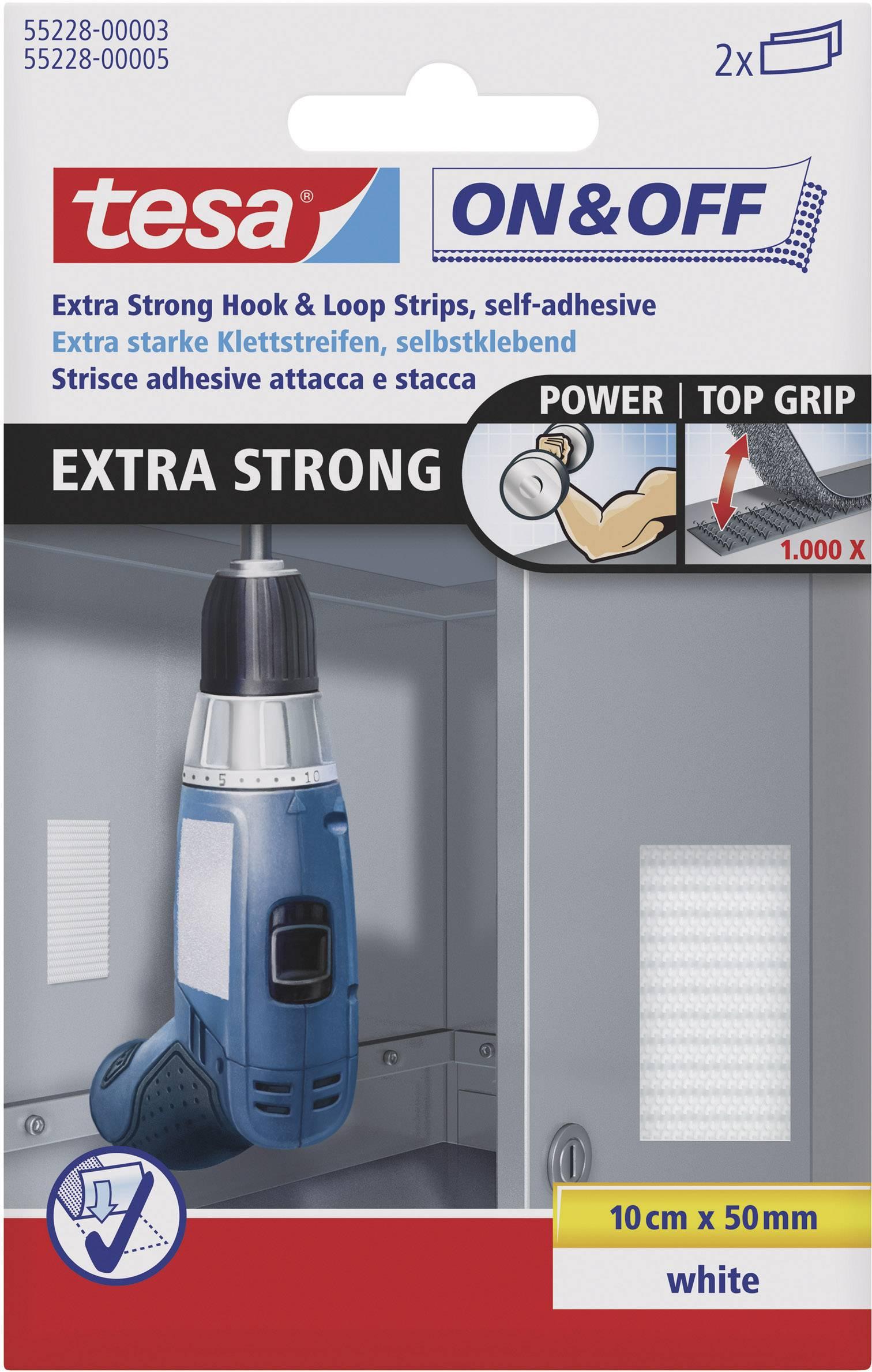 Lepiaci pásik na suchý zips TESA On & Off 55228-03-00, (d x š) 100 mm x 50 mm, biela, 2 ks