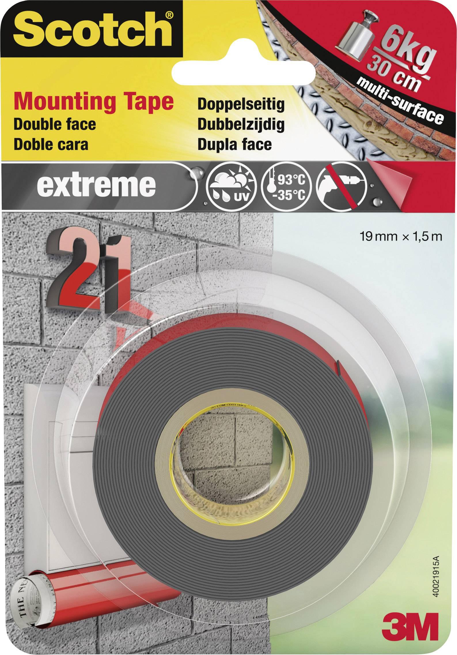 Montážna páska 3M 40021915, (d x š) 1.5 m x 19 mm, sivá, 1 roliek