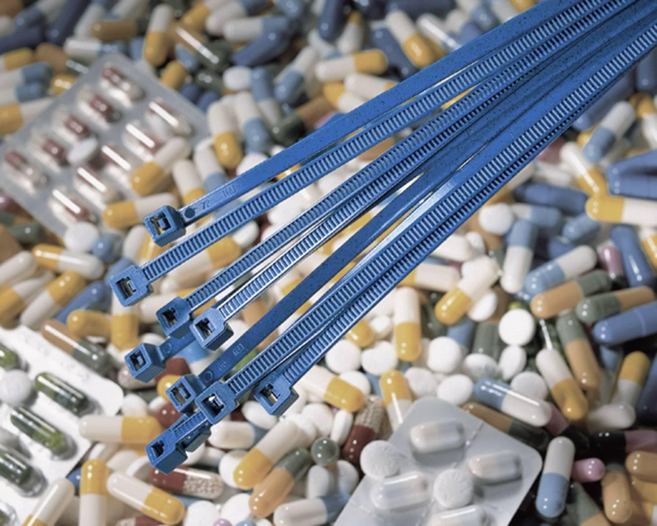 Stahovací pásky HellermannTyton MCT30R-PA66MP-BU-C1, 150 x 3,5 mm, modrá