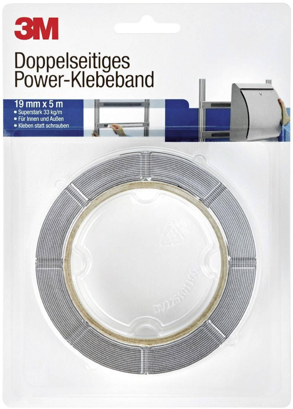Obojstranná lepiaca páska 3M 8888195 DT888800190, (d x š) 5 m x 19 mm, sivá, 1 roliek