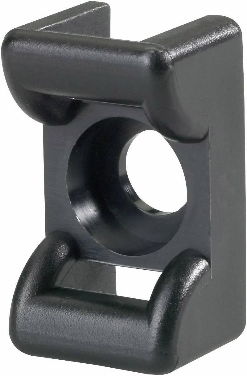 Úchytka HellermannTyton KR6G5-W-BK-C1 151-24660, skrutkovacia, čierna, 1 ks