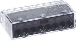 Krabicová svorkovnica HellermannTyton HECP-8 148-90005 na kábel s rozmerom - , tuhosť 0.5-2.5 mm², počet pinov 8, 1 ks, sivá