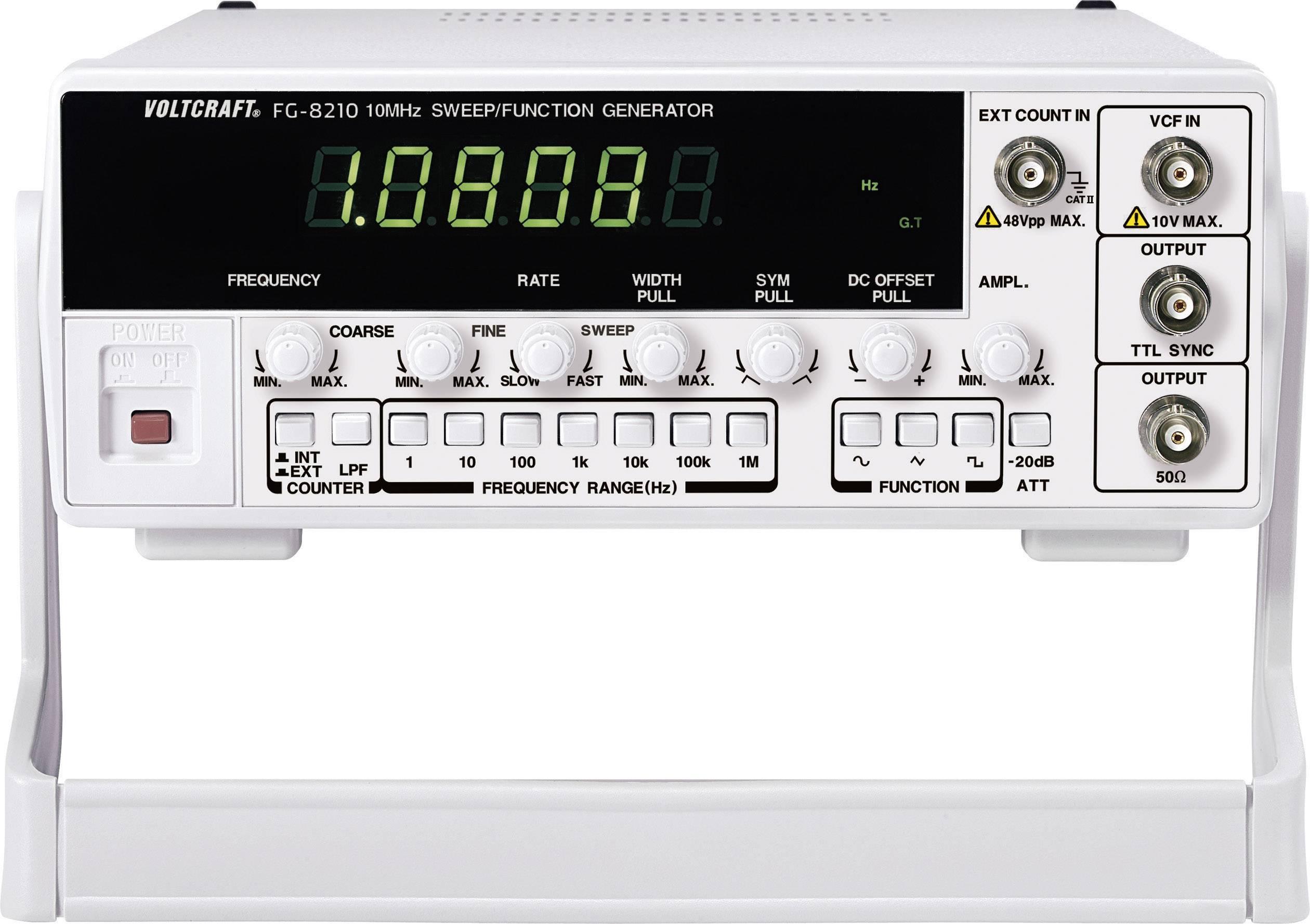 Generátor funkcí Voltcraft 8210, 1kanálový, 0,1 Hz - 10 MHz