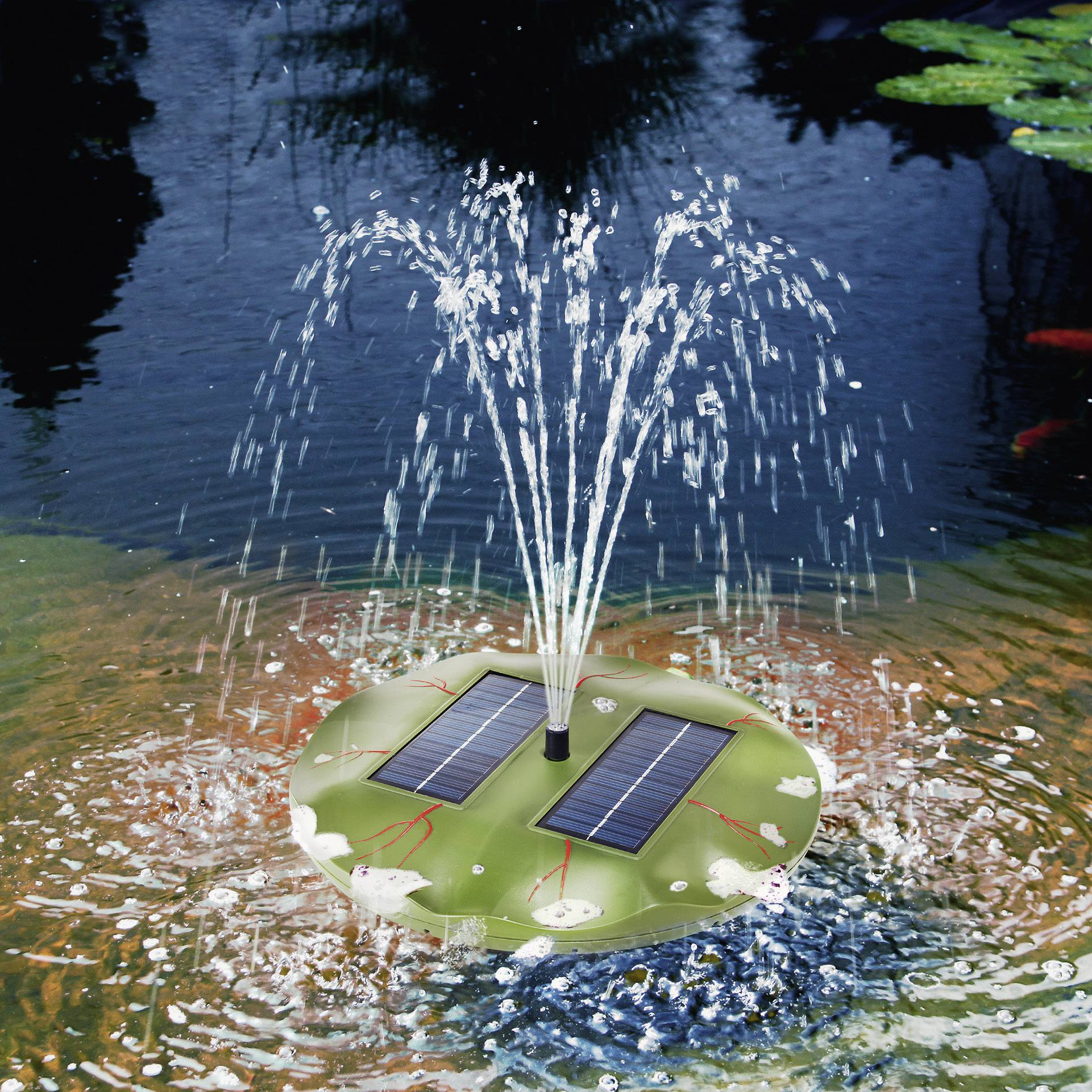 Solární ostrůvek s fontánou Esotec Seerose, 160 l/h, 0,4 m