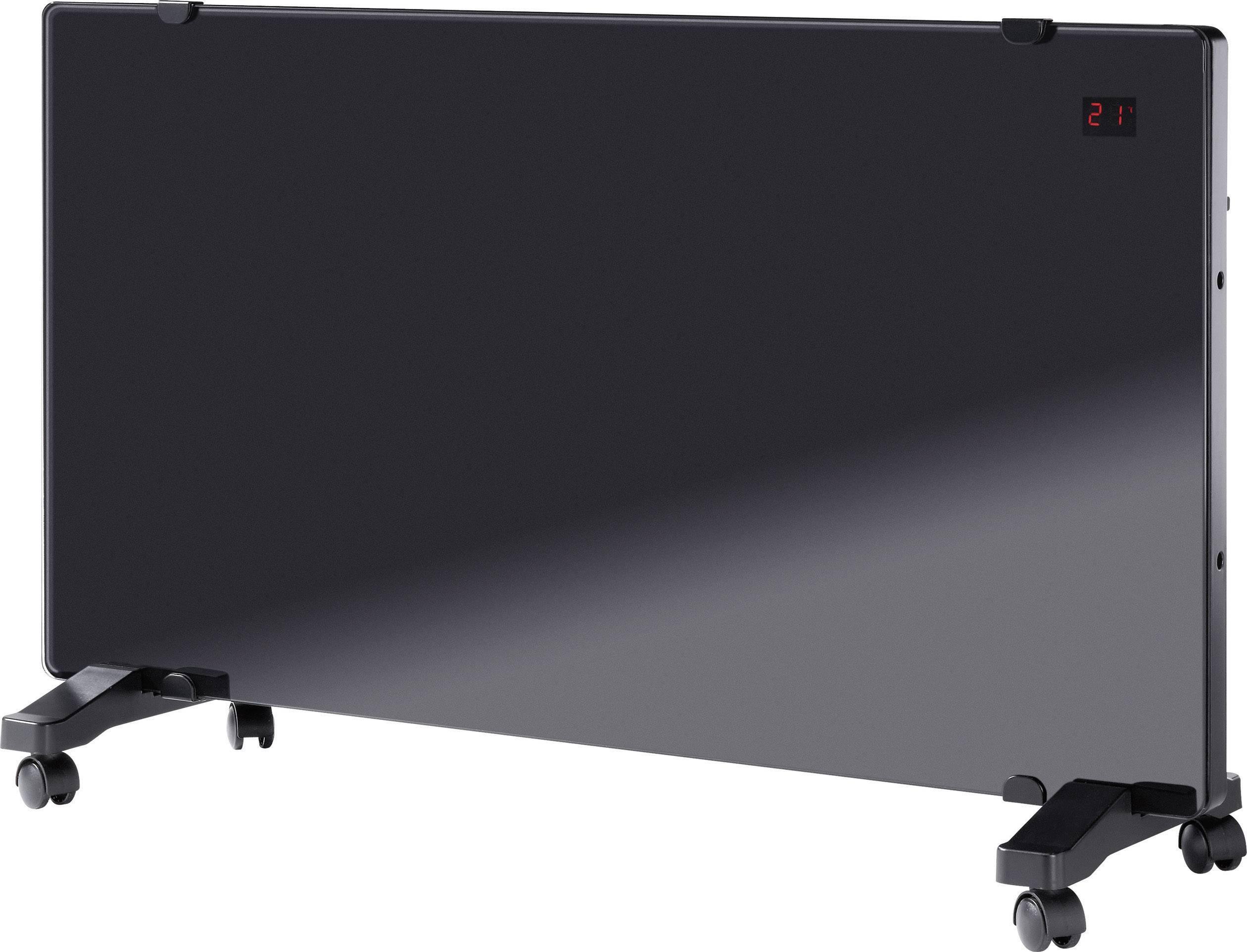Sklenený konvektor s diaľkovým ovládaním HCC15-A-E2-X, 20 m², 750 W, 1500 W, čierna