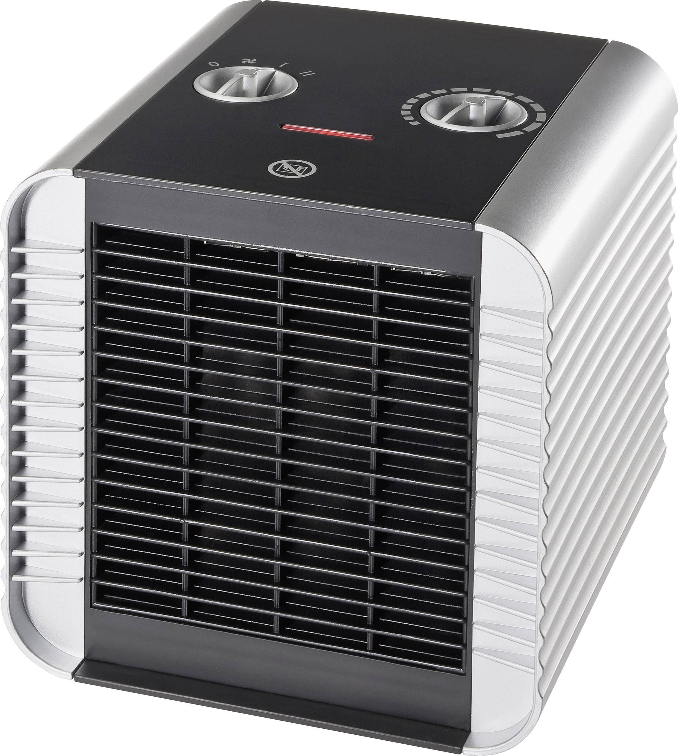 Topný ventilátor PTC Cube, ventilace/750/1500 W, černá/stříbrná