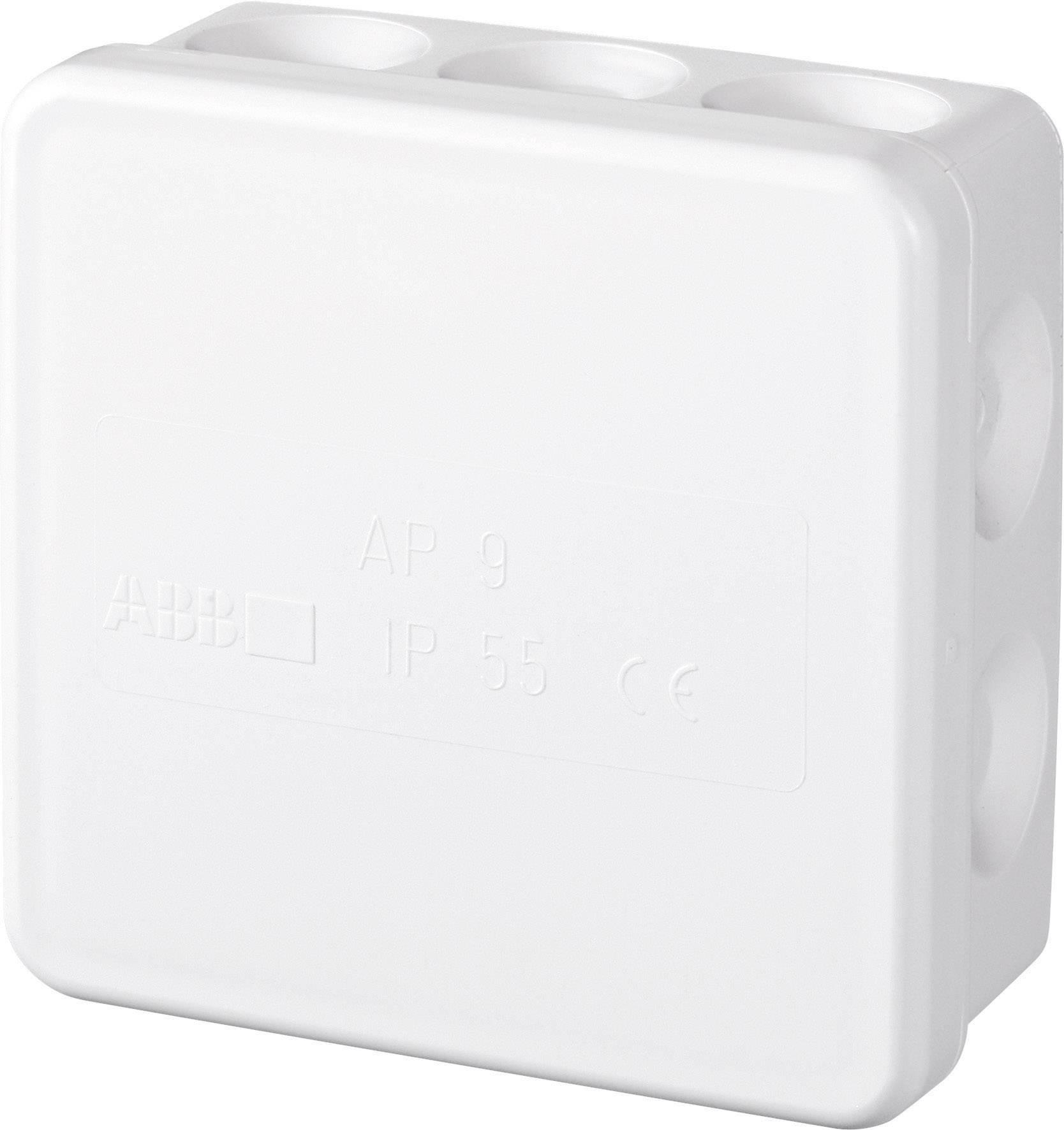 Rozbočovacia krabica IP55 ABB, 86 x 86 mm, biela, 2TKA140020G1