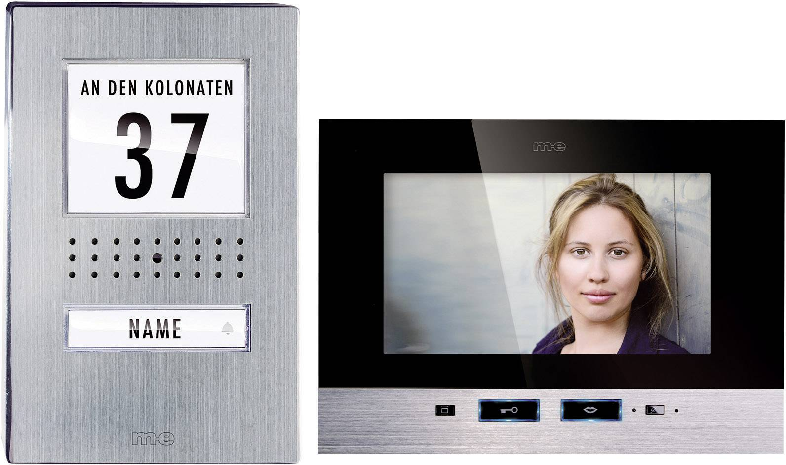 Káblový video dverový telefón m-e modern-electronics kompletný set, nerezová oceľ, čierna