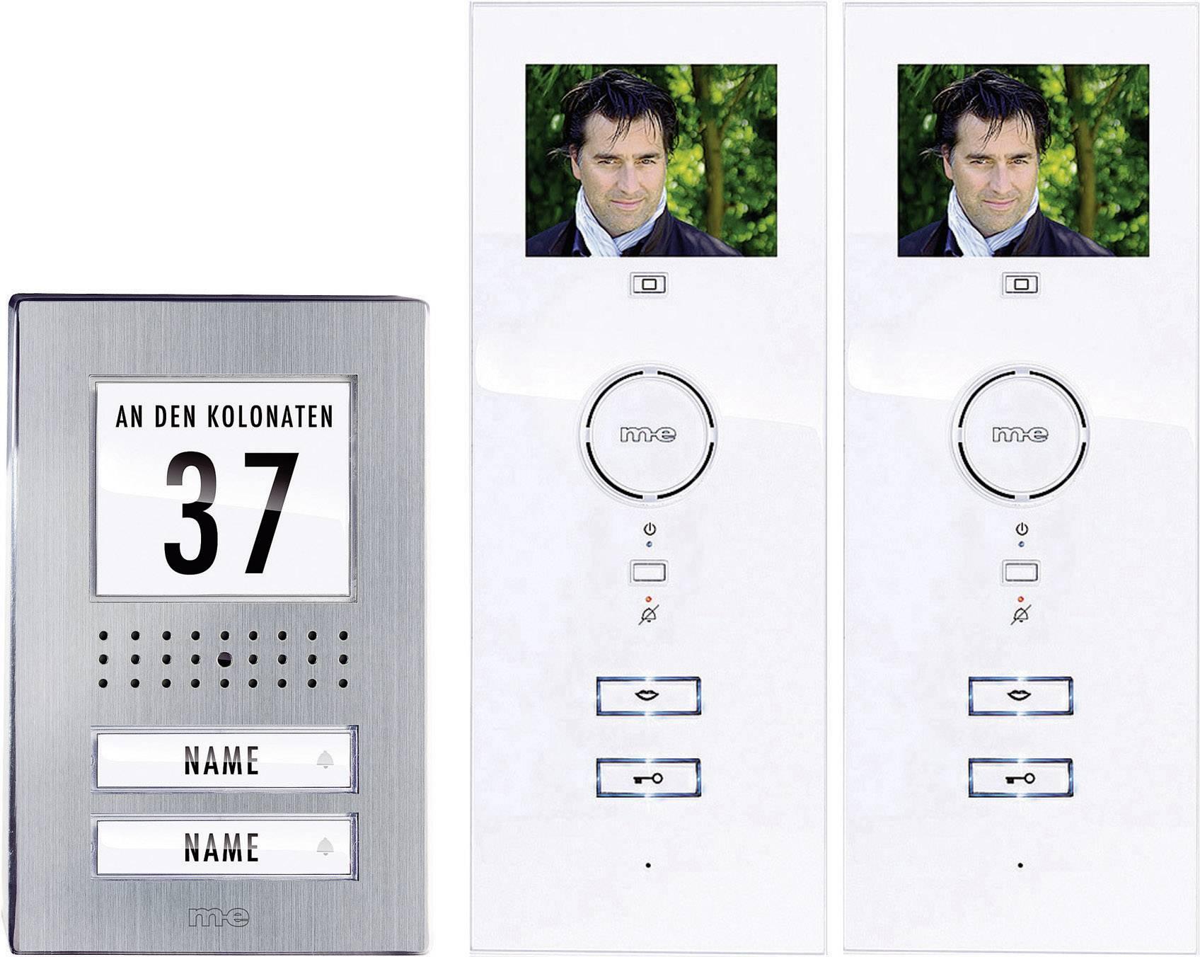 Káblový video dverový telefón m-e modern-electronics kompletný set, nerezová oceľ, biela