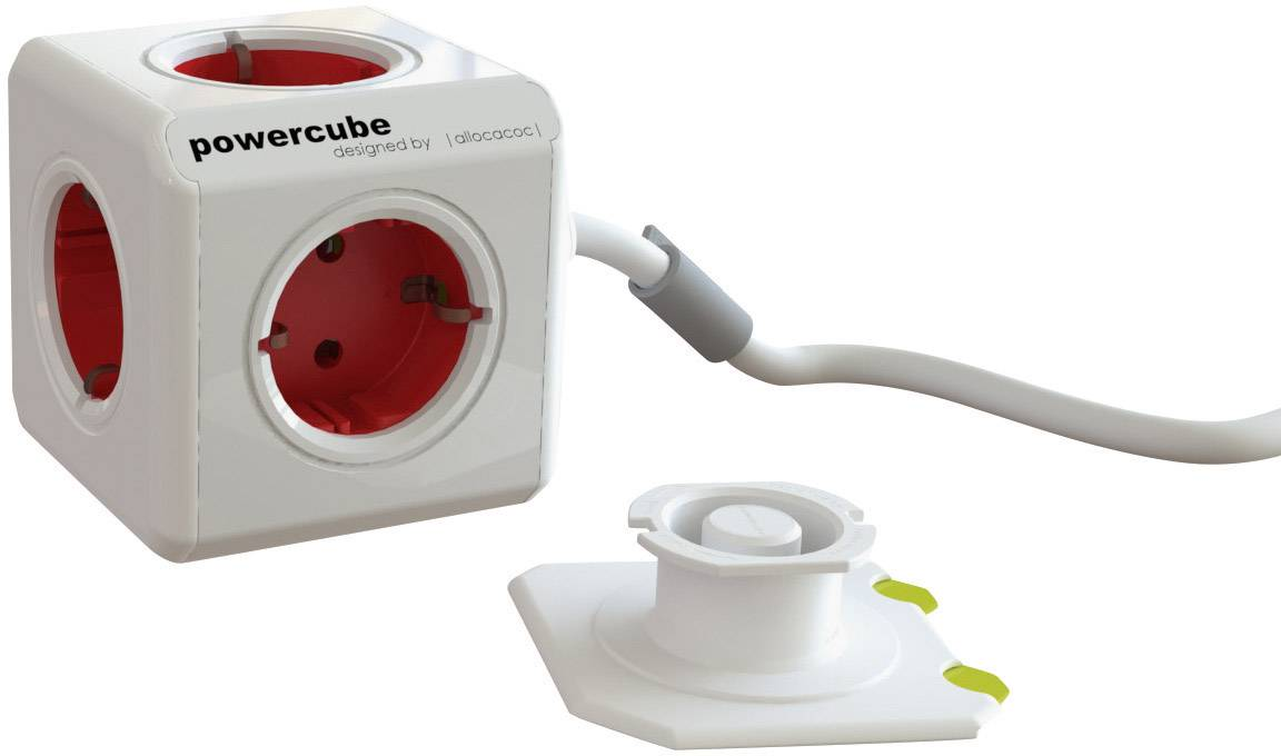Stolová zástrčková kocka bez USB Segula Powercube 50450 5 zásuviek, 1.50 m, biela, červená
