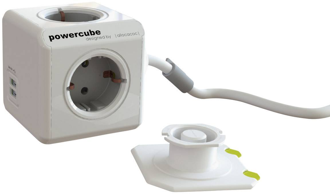 Stolová zástrčková kocka s USB, Segula 50455, 4 zásuvky, 1.50 m, biela, sivá