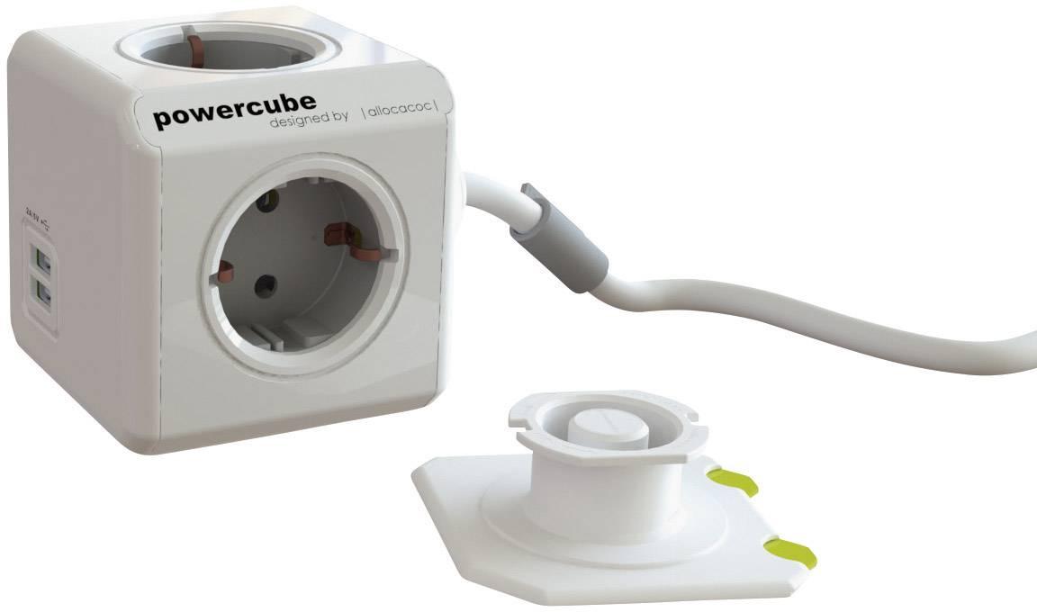 Stolová zástrčková kocka s USB, Segula Powercube USB, 4 zásuvky, 1.50 m, biela, sivá