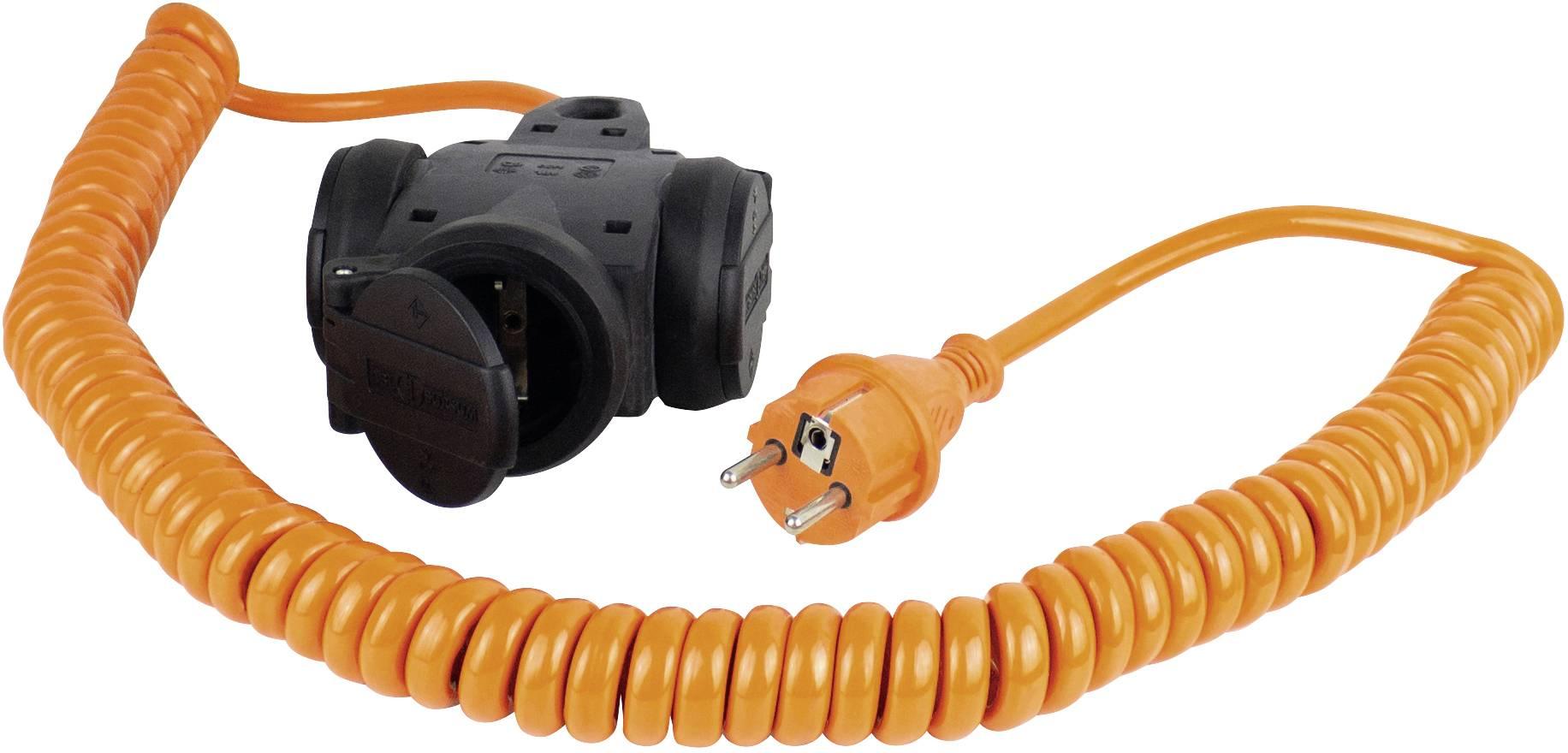 Napájací predlžovací kábel špirálový kábel as - Schwabe Schutzkontakt Spiralkabel Orange 70414, IP44, oranžová, čierna, 5 m