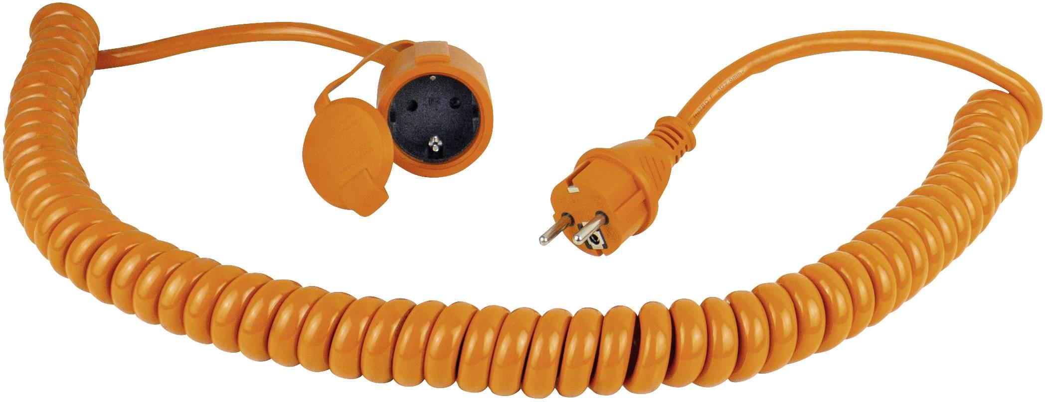 Napájací predlžovací kábel špirálový kábel as - Schwabe 70415, IP44, oranžová, čierna, 5 m