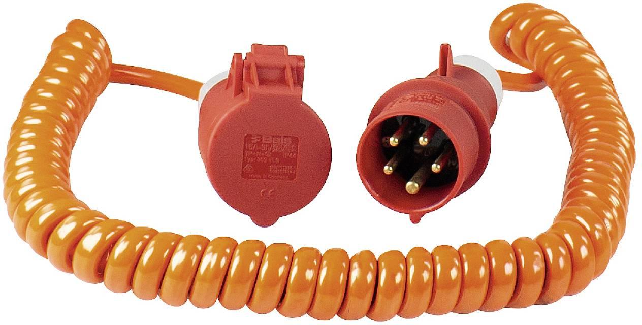 Napájací predlžovací kábel špirálový kábel as - Schwabe Baustellen-Spiralkabel CEE Orange 70416, IP44, oranžová, červená, 5 m