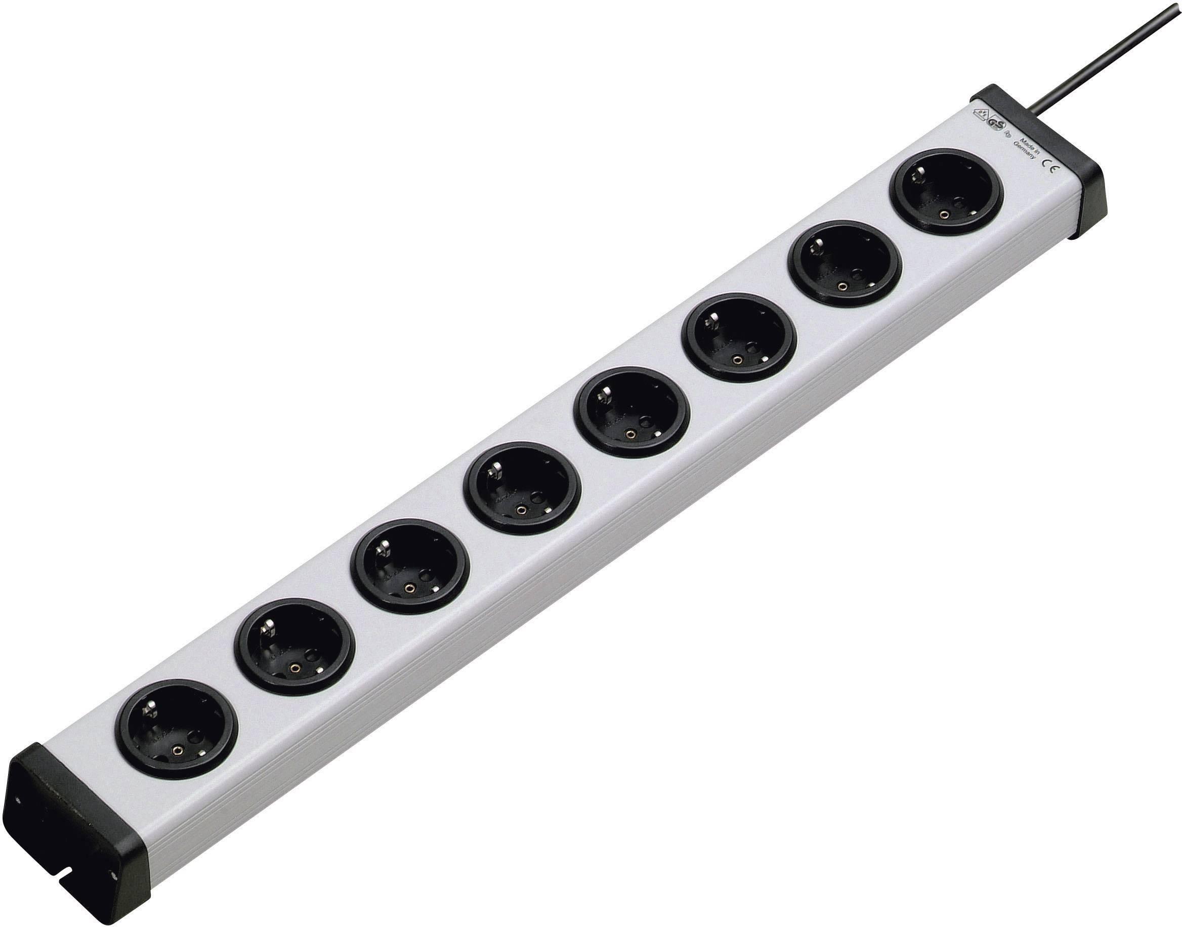 Zásuvková lišta bez spínača Ehmann, 1153390128, 8 zásuviek, sivá