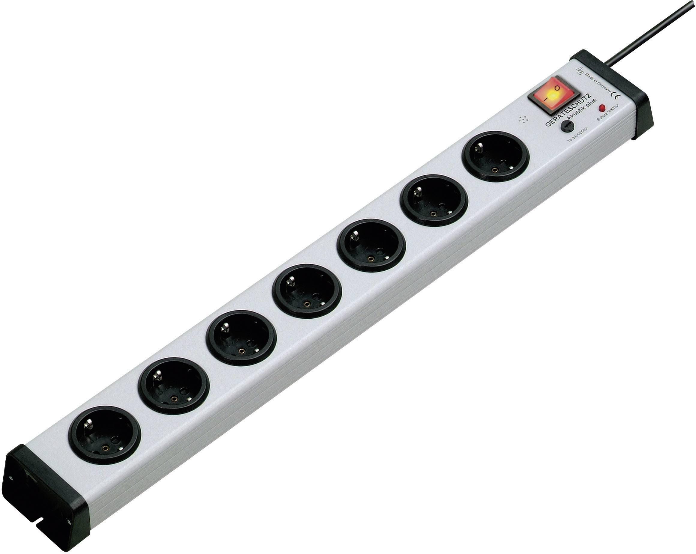 Zásuvková lišta s prepäťovou ochranou Ehmann Akustik plus, 7 zásuviek, sivá
