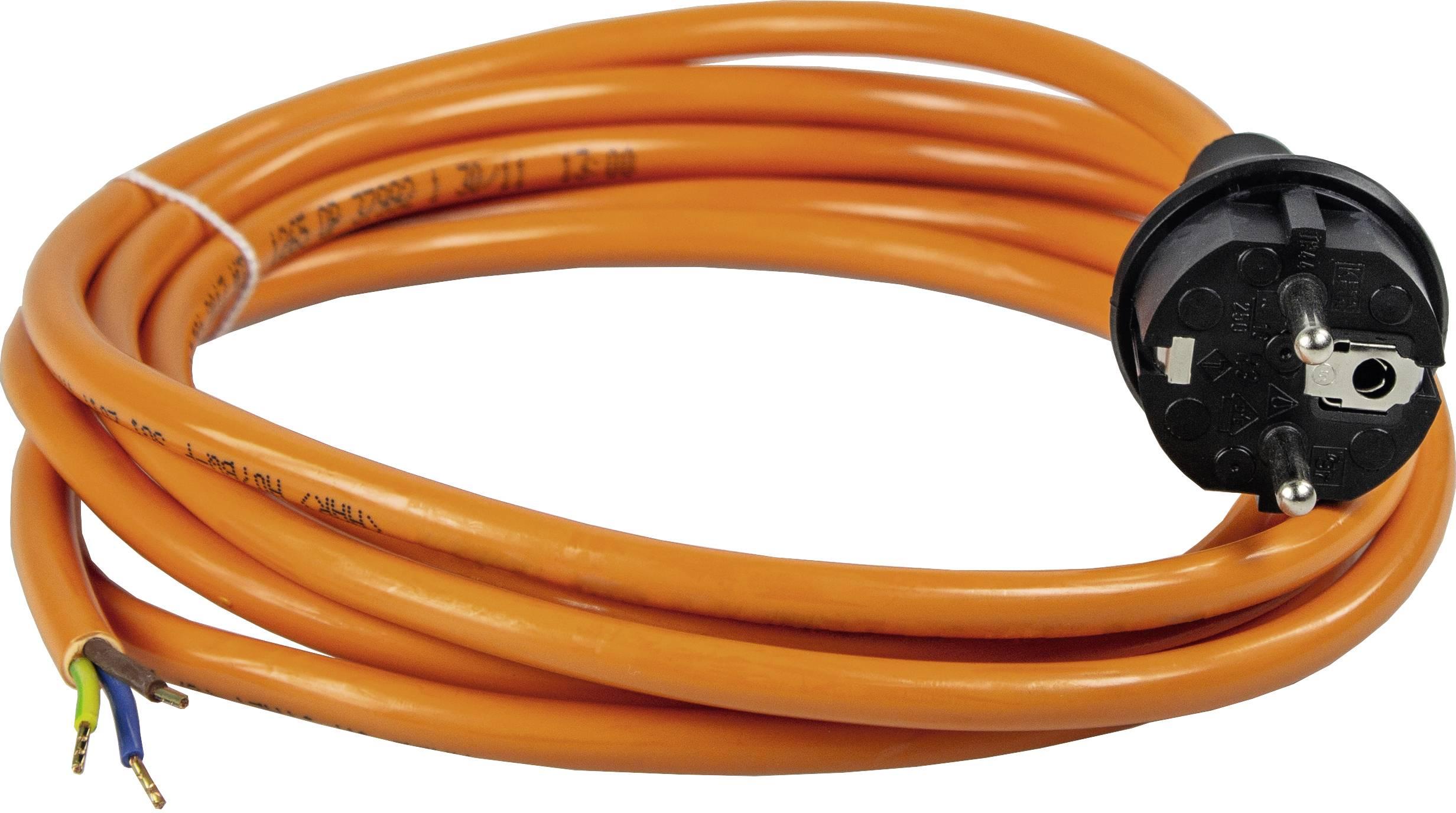 Síťový kabel AS Schwabe 70908, zástrčka/otevřený konec, 1,5 mm², 5 m, oranžová