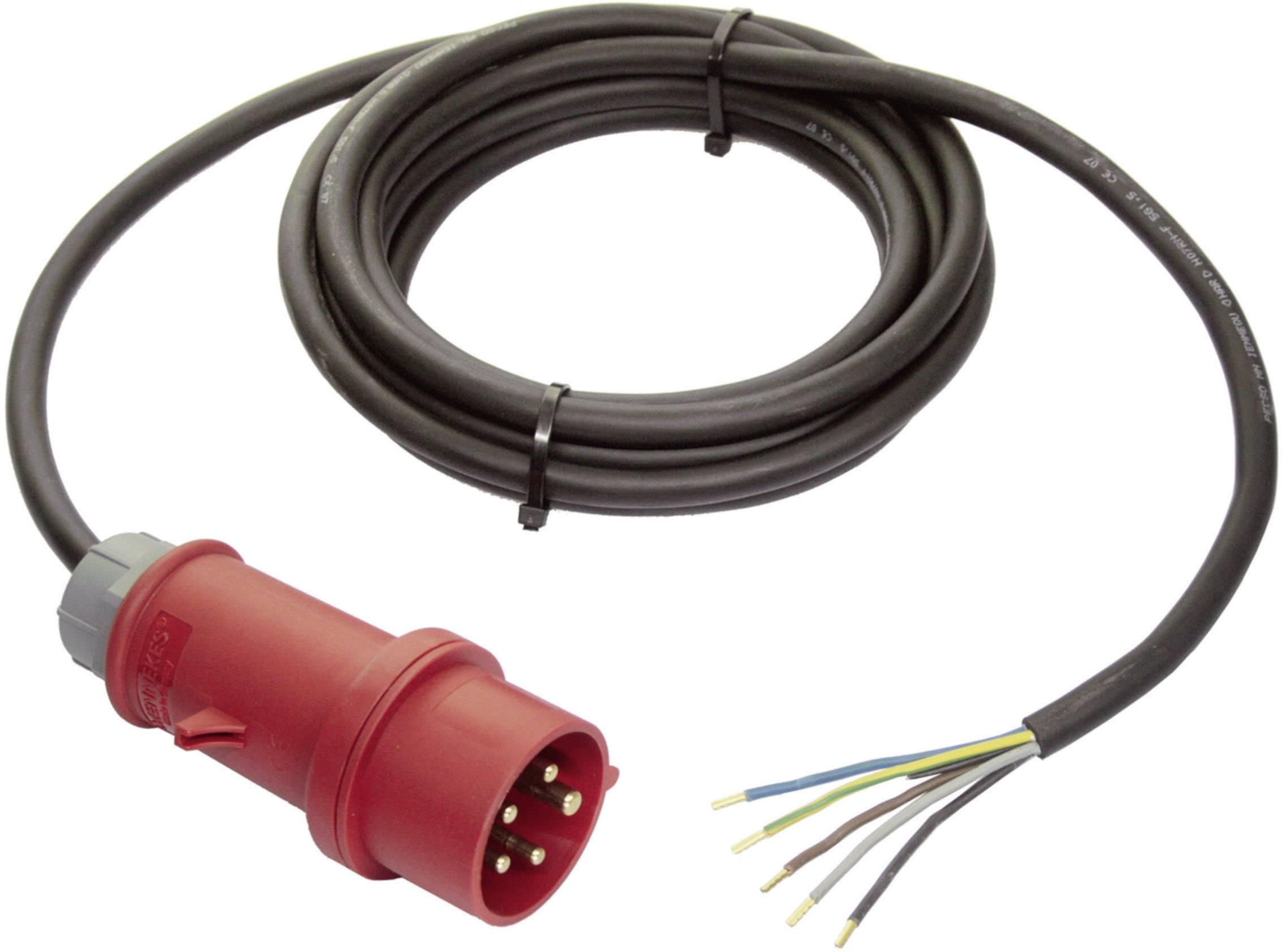 Síťový kabel AS Schwabe 7097, CEE zástrčka/otevřený konec, 2,5 mm², 5 m, černá