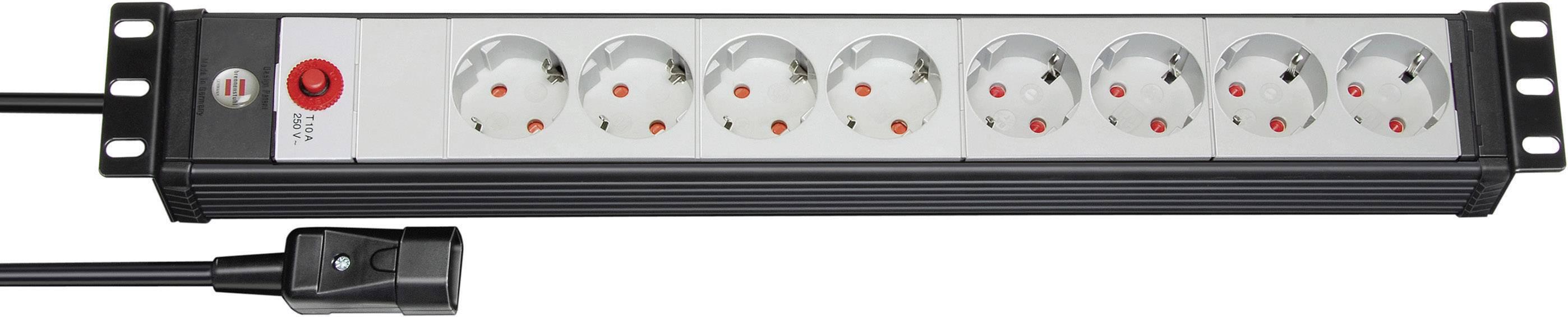 Zásuvková lišta Brennenstuhl Premium-Line, 1156057118, 8 zásuviek, čierna/šedá