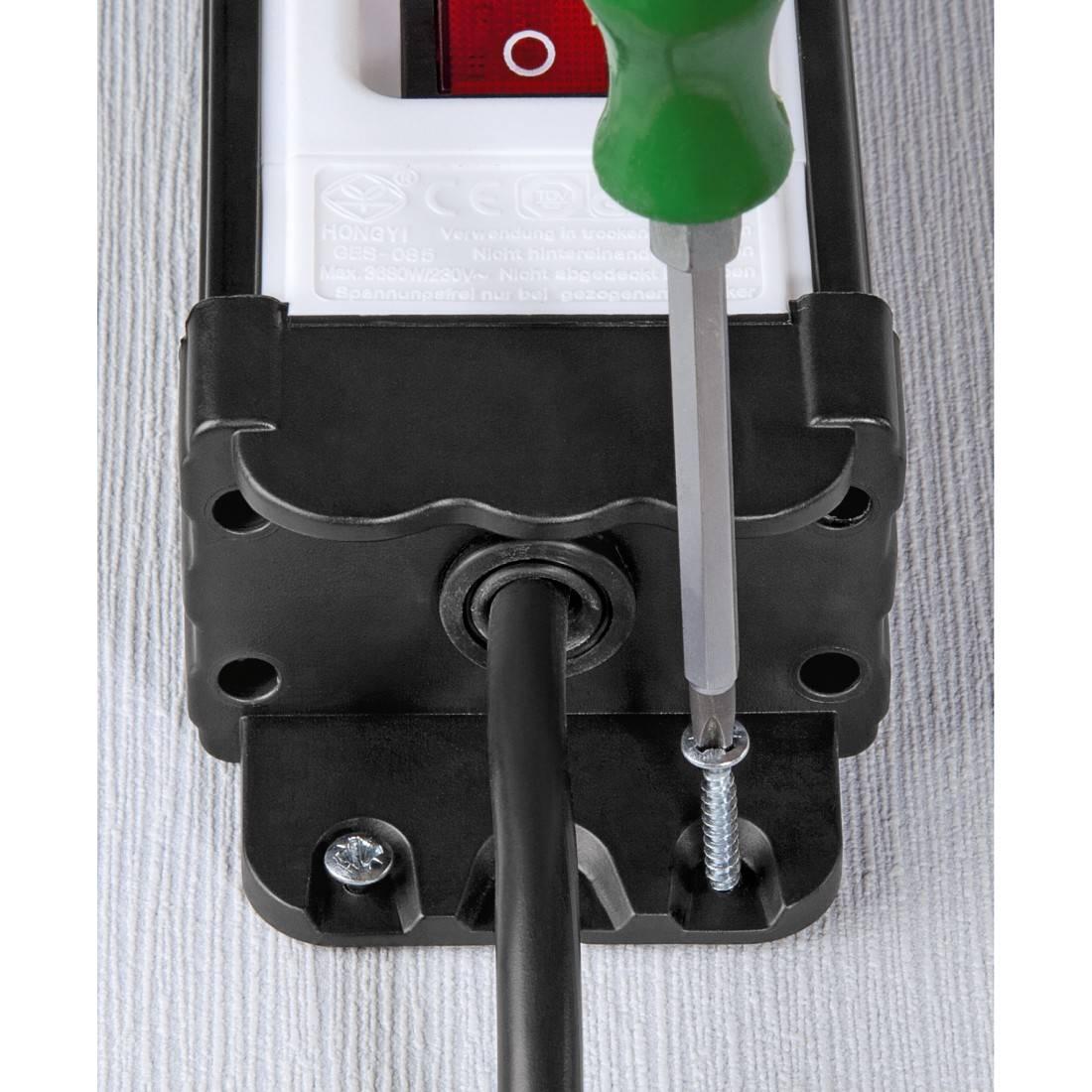 Zásuvková lišta so spínačom Hama Safety, 00047823, 8 zásuviek, biela/čierna