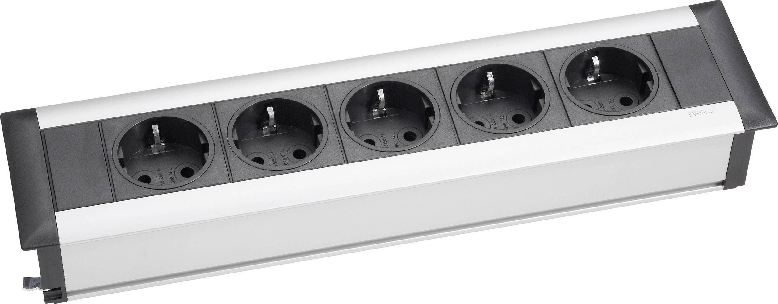 Vstavaná zásuvková lišta Schulte Elektrotechnik Frame Dock Small, 5 zásuviek, strieborná/čierna